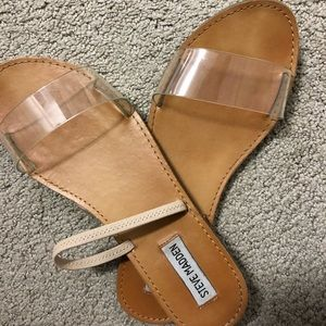 Steve Madden  clear/nude elastic sandals size 8